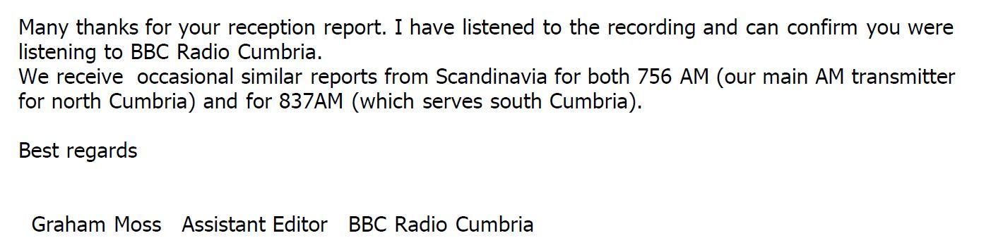 BBC Radio Cumbria QSL