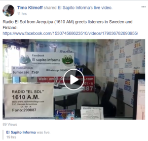 Radio El Sol sent greetings over radio. They were also at Facebook Live.
